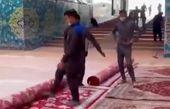 حرم امام حسین (ع) مفروش شد+فیلم